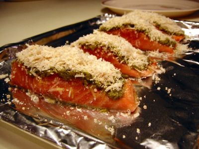 Pesto & Cheese Crusted Salmon