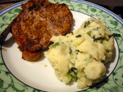 Mustard Pork Chops and Colcannon