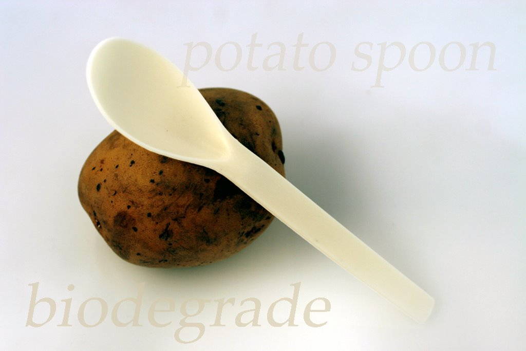 photograph picture St Benoit use biodegradeable spoons made from potato starch