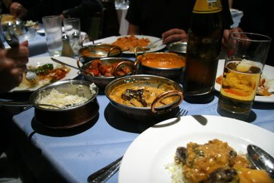 photograph picture of the Maharani, soho, chicken tikka masala and baghare Baignan, etc
