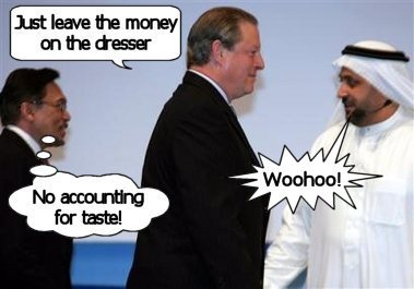 Fat prostitute Al Gore greets his latest customer