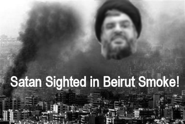 Satan Nasrallah in the smoke over Beirut