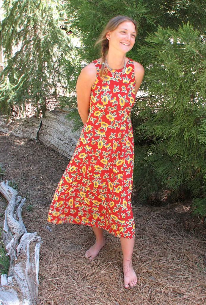 844caa7bbdfa ... she and Peggy were talking about how much they love thrift stores, so,  while the kids were gone camping, Peggy found Sandra this red sunflower  dress ...