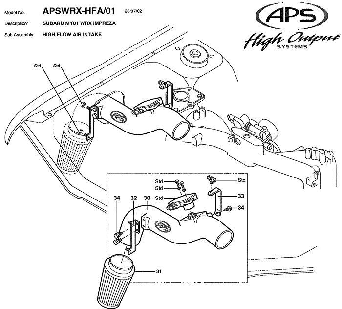 aps 65mm high flow cold air intake
