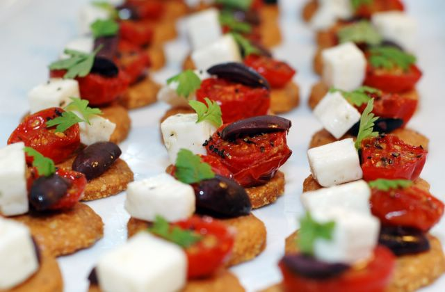Anne 39 s food parmesan shortbread with roasted cherry for Gluten free canape ideas