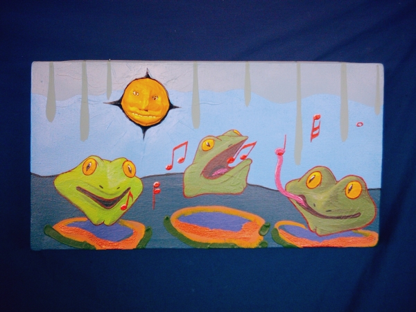 Three Tenors of Frog Creek. Broken Vulture Art. Eric Keast. Bingorage studio.