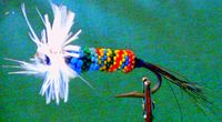 Beaded fish fly lure, by Eric Keast.