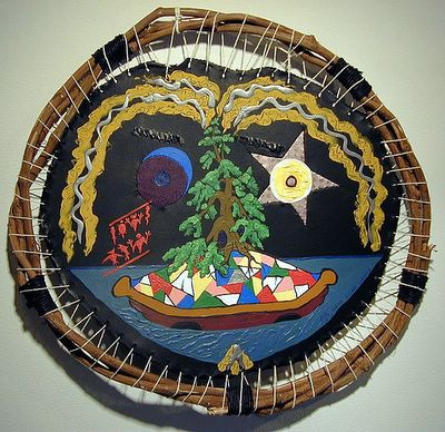 Both a three dimensional construction of leather, hemp, grapevine and thread, plus a 2D painting, by Eric Keast; Broken Vulture Art.