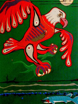 Acrylic painting over old recycled painting on canvasboard, by Eroic Keast; Broken Vulture Art.
