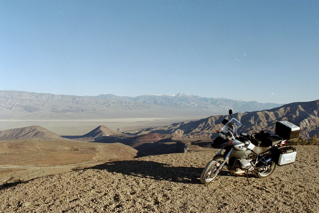 2005 BMW R1200 GS at Panamint Valley, near Death Valley