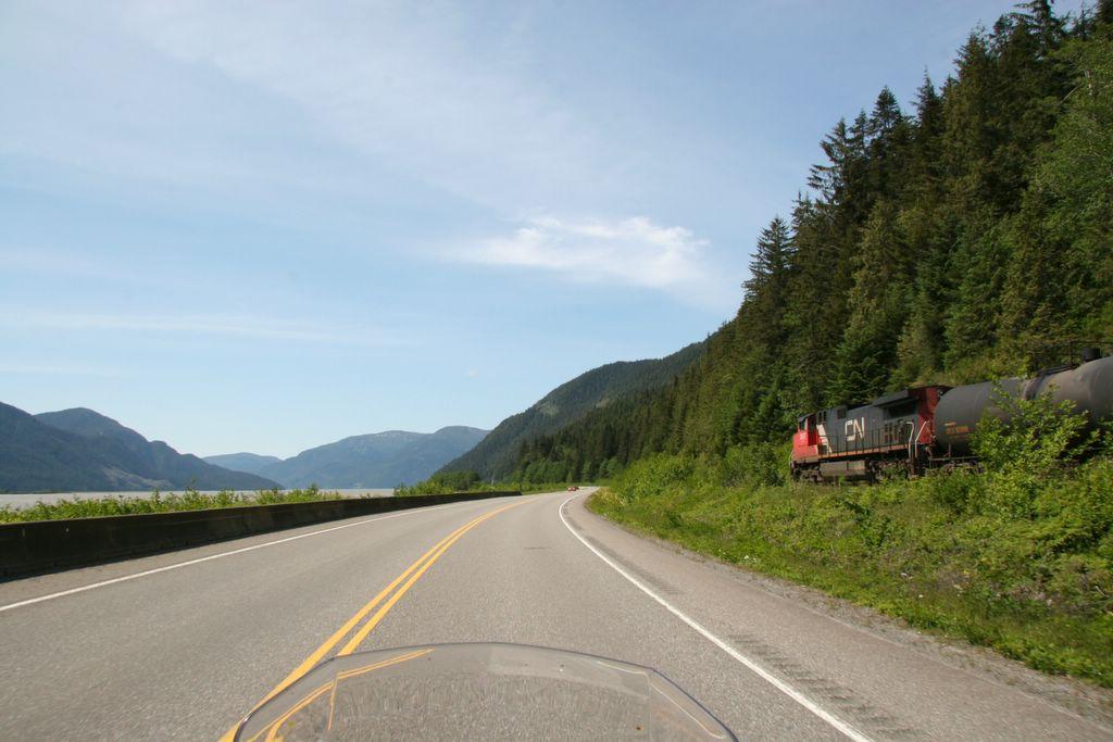 Canadian National railway along Skeena River British Columbia