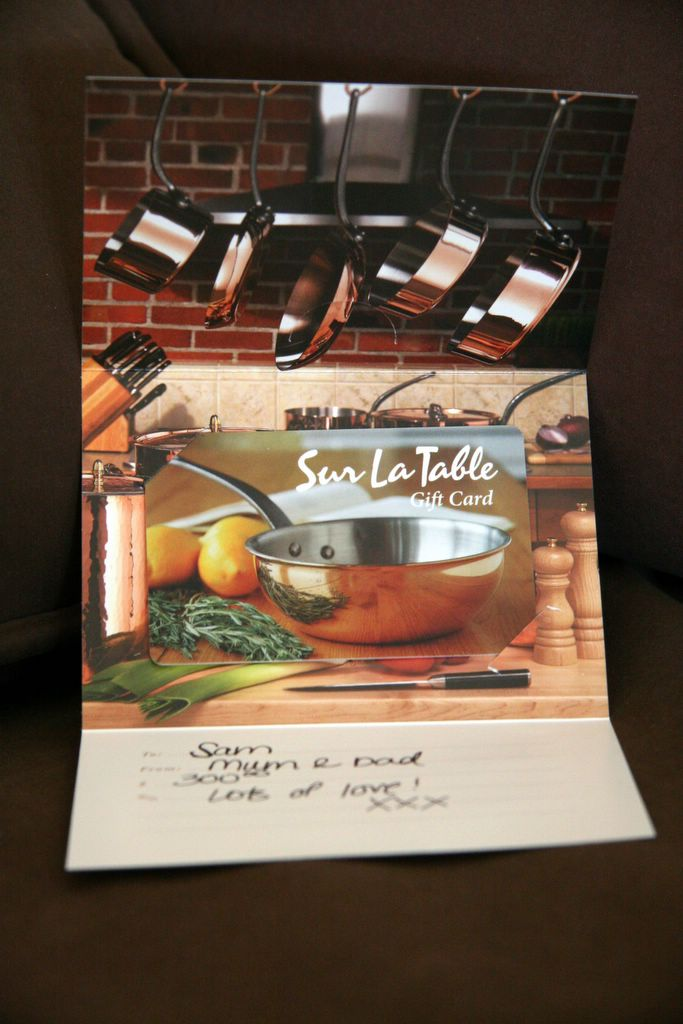 photograph: picture of a gift certificate from Sur La Table