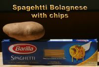 photograph picture of a box of Barilla spaghetti and a potato