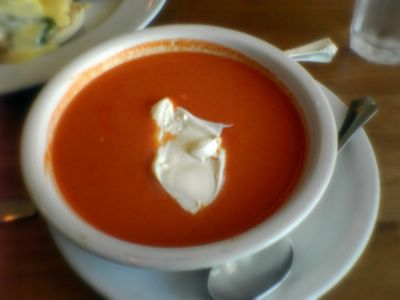 photograph picture of cold red pepper puree soup at The Liberty Cafe in Bernal Heights filed under Cafe Review