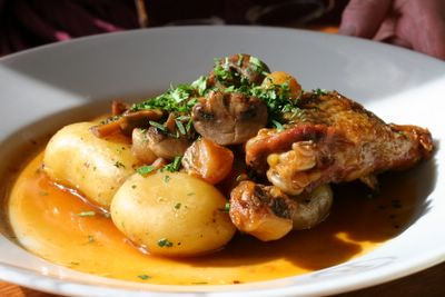 photograph of coq au vin at Riverstation restaurant and bar in Bristol, England