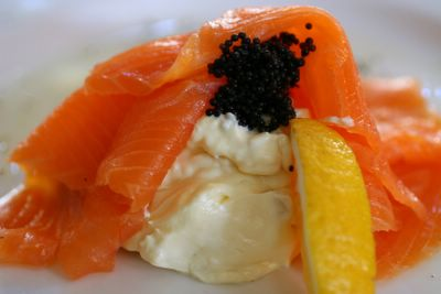 photograph picture The Pump Room Smoked Salmon with horseradish blini Bath England