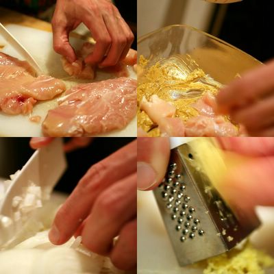 photograph picture of Tim learning to cook chicken tikka masala chopping chicken, grating ginger, dicing chicken