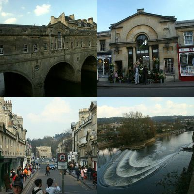 photograph picture of the famous Pulteney Bridge over the river Avon, one of only four bridges in the world with shops on both sides in Bath Somerset England