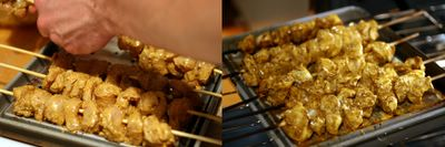 photograph picture of Tim learning to cook chicken tikka masala threading the chicken on skewers