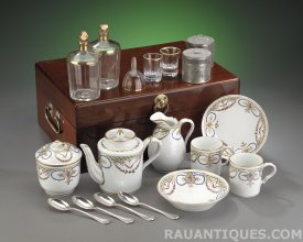 French 18thC traveling Tea and Liqueur Service in a chest, Rau Antiques