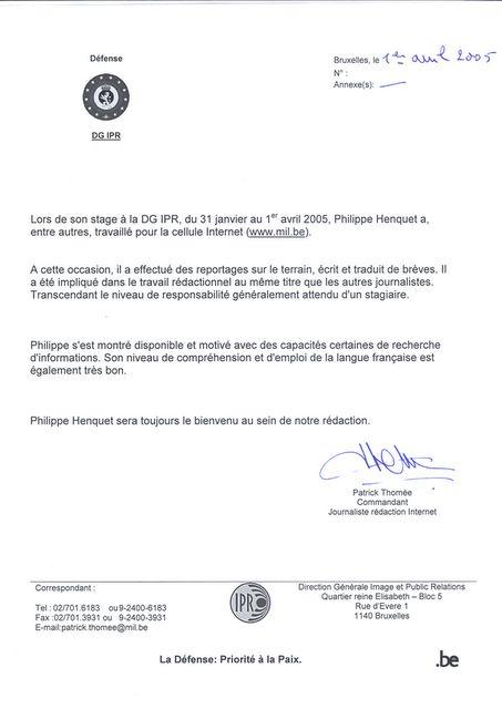 aanbevelingsbrief Experience Defense: Franstalige aanbevelingsbrief