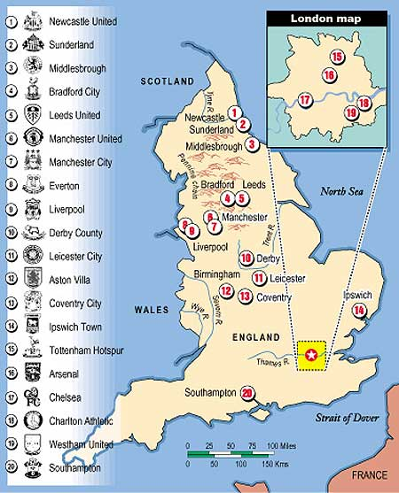 English Premier League Map The Discriminating Omnivore: English Premier League Map   Circa ?? English Premier League Map