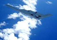 OVER THE PACIFIC OCEAN -- A B-2 Spirit soars through the sky after a refueling mission here May 2. The B-2 is assigned to the 393rd Expeditionary Bomb Squadron from Whiteman Air Force Base, Mo. The bomber is currently deployed to Andersen AFB, Guam, as part of a continuous bomber presence in the Asia-Pacific region. (U.S. Air Force photo by Tech. Sgt. Cecilio Ricardo)