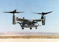 Futuristic in its design, the CV-22 Osprey looks like a helicopter on the ground with two sets of propeller rotors on each wing tip. Once airborne, the rotors tilt forward so the aircraft resembles a dragonfly with turboprops. (U.S. Air Force photo)