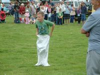 Andrew working hard in the sack race