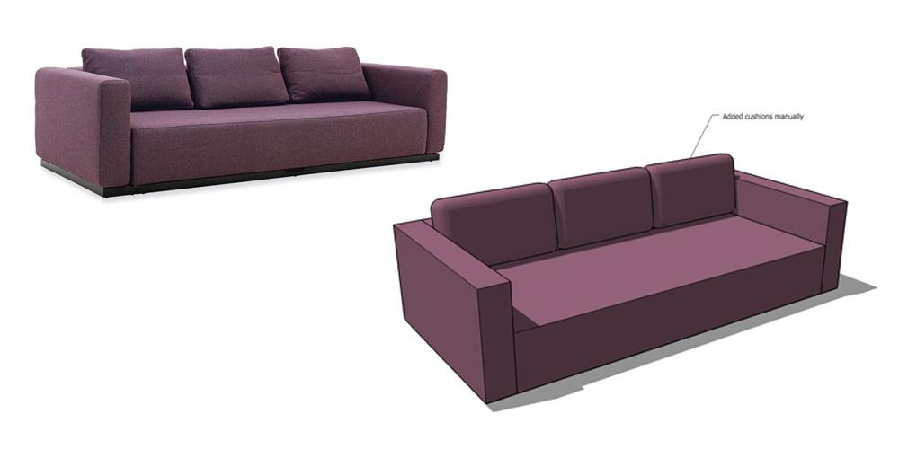 Living Room Sofa Set Sketchup Model