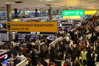 Crowded scene at Terminal 1 Heathrow on Wednesday 20 December 2006
