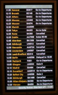 Heathrow T1 deaprtures screen - showing lots of flights cancelled