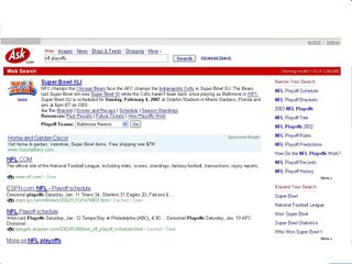 ASK.com Superbowl SERP Jan 2007