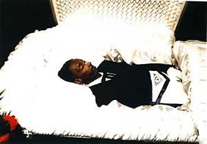 Black Funeral Open Casket White Closed