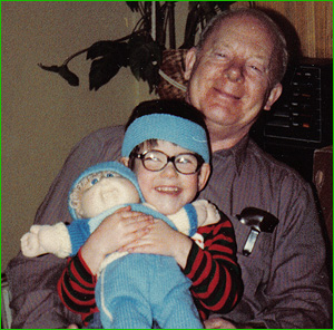 Dad with J and 'Bob' the Cabbage Patch Kid