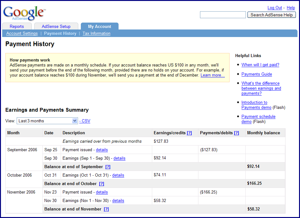 Inside AdSense: A new Payment History page