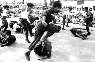 If the subject is moving across the film plane, you have to use 1/250 sec or higher.; Rizal High School 1992; photo by Atty. Galacio