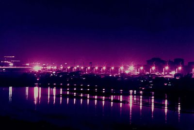 I took this picture 1997 or 1998 along the floodway in Pasig; by playing around with the filtration settings, I was able to come with this dramatic shot of the lights along the floodway; I was in the middle of the Legaspi Bridge at around 7 PM, and I used my beloved Canon AE-1 Program camera with a Vivitar 28-210 mm zoom lens; photo by Atty. Galacio