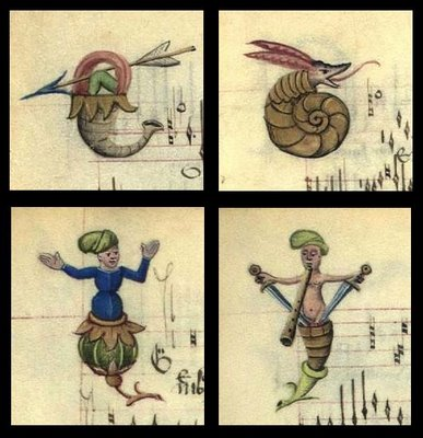 4 Lettrines from Chansons d'Amour - plant and snail caricatures