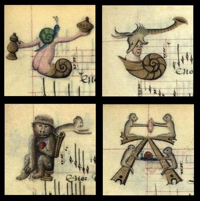 Snail and monkey manuscript lettrines