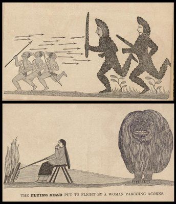 Cusick's Six Nations - The Stonish People and The Flying Head put to flight by a woman parching acorns