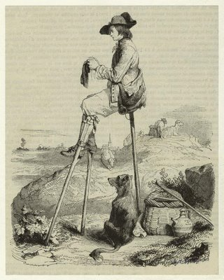 Shepherd resting on stilts, knitting