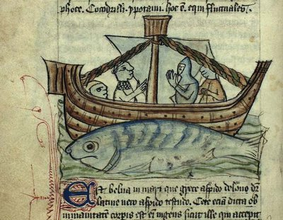boat, fisherman and fabulous 'whale'