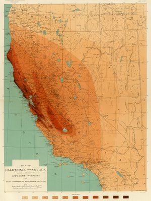 Map of Apparent Intensity of 1906 San Francisco Earthquake (Rossi-Forel Scale)
