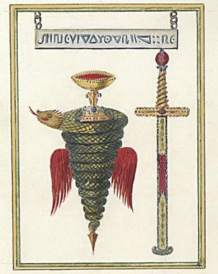 Coiled Snake, Chalice and Sword