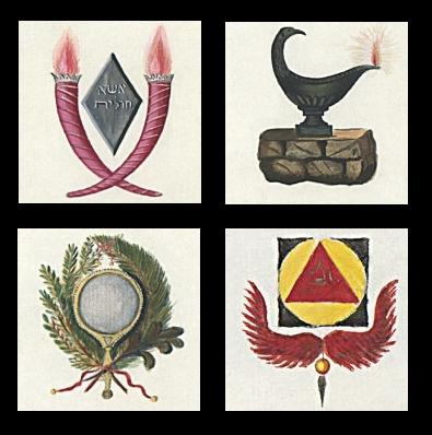 Lamp, Wreath, Winged Symbol and Torches