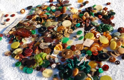 Buttons, brown, yellow, and green