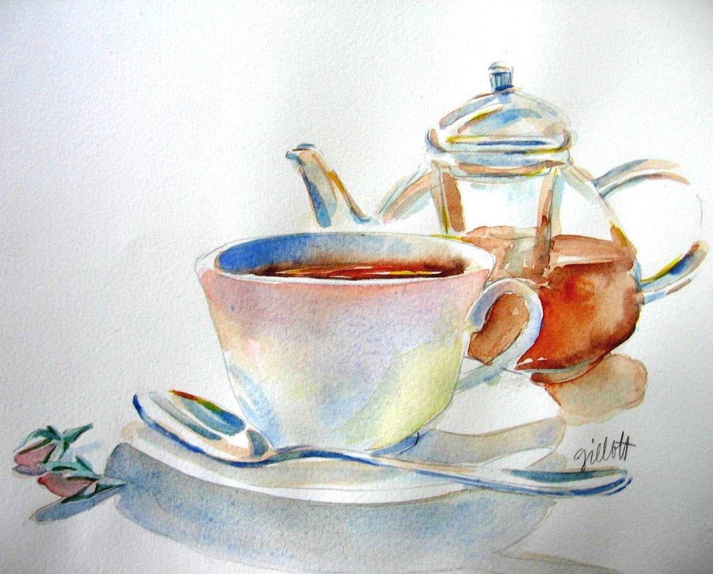 Paris Breakfasts Glass Teapot