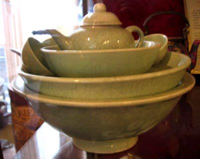 Green Celadon tea things...