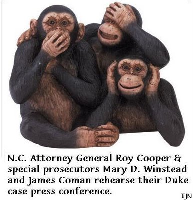 NC AG Roy Cooper & special prosecutors James Coman and Mary D. Winstead rehersse press conference